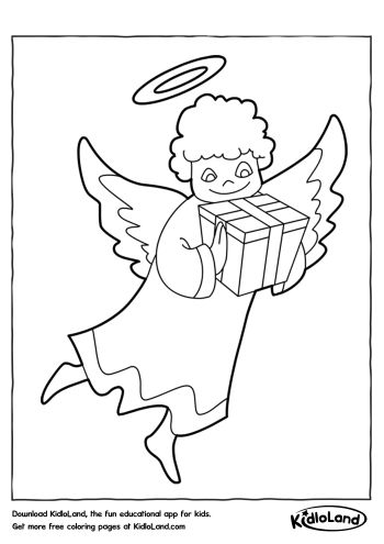 Angel With Gift Coloring Page