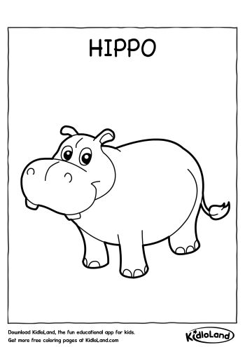 Hippo coloring pages for preschoolers ~ Free Printables & Worksheets For Your Kids - KidloLand