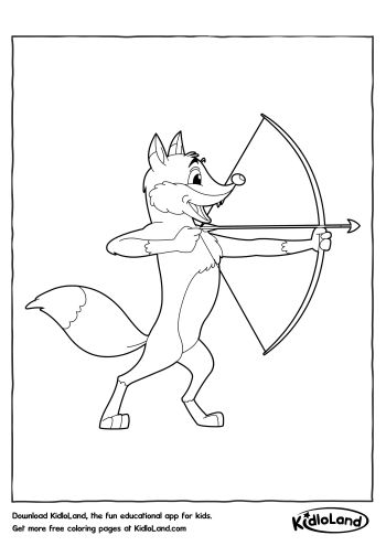 Fox With Bow And Arrow Coloring Page