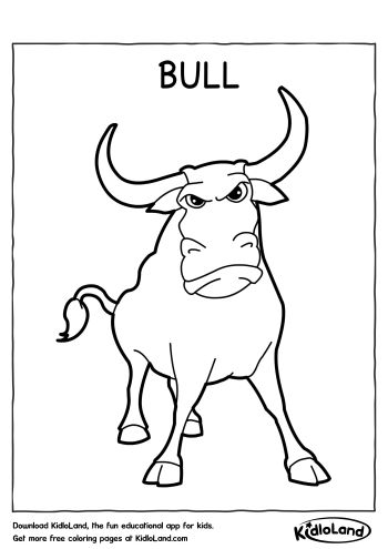 Download Free Bull Coloring Page and educational activity ...