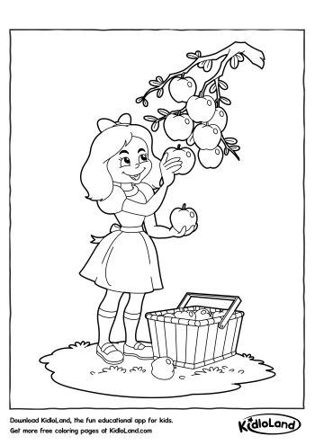 Girl Picking Fruits Coloring Page | Free Printables For Your Kids ...