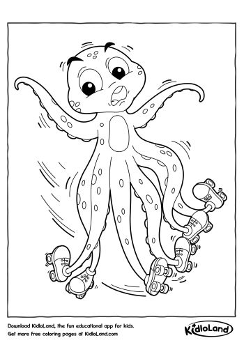 skater octopus coloring page free printables for your kids kidloland