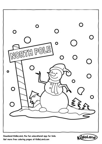 snowman north pole coloring page