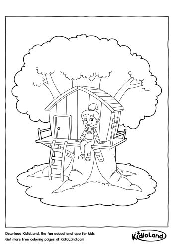 Tree House #2 (Buildings and Architecture) – Printable coloring pages | 495x350