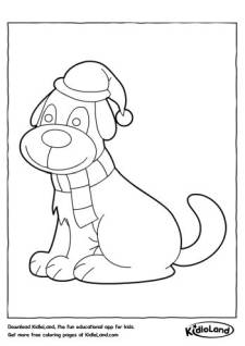Dog with Scarf Coloring Page