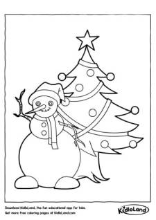 Snowman with Xmas Tree Coloring Page