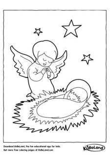 Angel with Baby Coloring Page