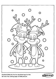 Reindeer in snow Coloring Page