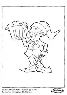 Elf with Gift Coloring Page