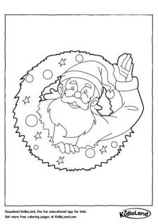 Santa in a wreath Coloring Page