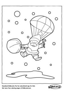 Santa with parachute Coloring Page