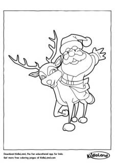 Santa on a Reindeer Coloring Page