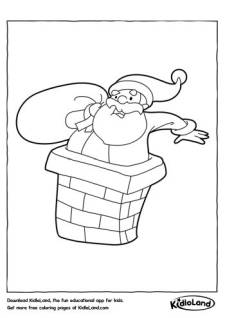 Santa in a Chimney Coloring Page