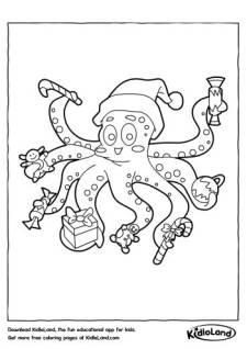 Octopus Santa Coloring Page