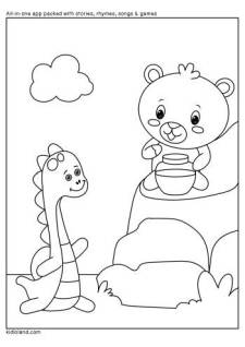 Dino And Bear Coloring Page