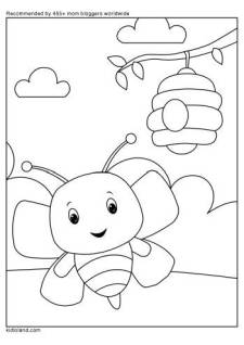Honey Bee Coloring Page