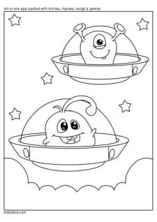 Monsters In Space Coloring Page