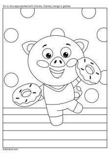 Happy Piggy Coloring Page