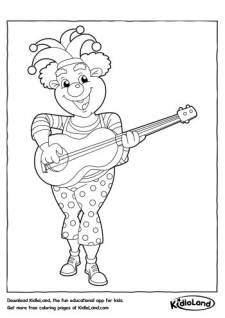 Clown with a Guitar Coloring Page