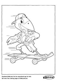 Skateboarding Bird Coloring Page
