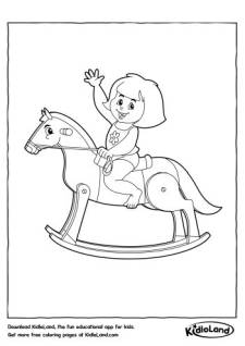 Girl on a Horse Coloring Page
