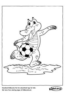 Soccer Player Crocodile Coloring Pages