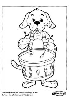 Drummer Dog Coloring Page