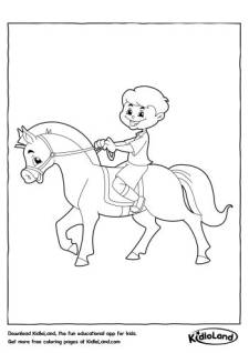 Boy Riding Horse Coloring Page
