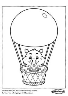 Pig in a Balloon Coloring Page