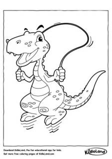 Skipping Dino Coloring Pages
