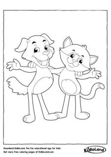 Dog and Cat Coloring Page