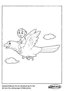 Boy on a Bird Coloring Page