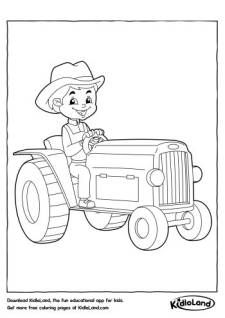 Boy on a Tractor Coloring Page