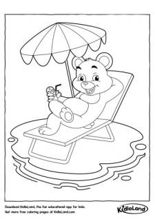 Bear on a Pool Chair Coloring Page