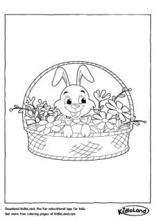 Bunny in a Basket Coloring Page