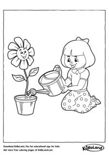 Watering the Flower Pot Coloring Pages