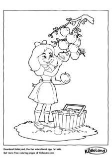 Girl Picking Fruits Coloring Page