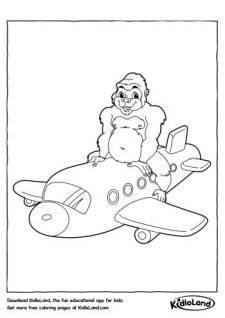 Gorilla on a Plane Coloring Page