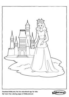 Princess and a Castle Coloring Page