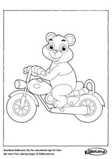 Motorcyclist Panda Coloring Page