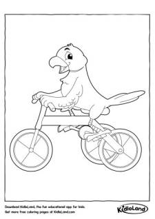 Cycling Parrot Coloring Page