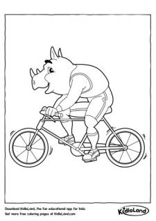 Cyclist Rhino Coloring Page