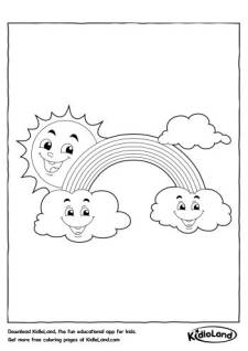 Sun Rainbow & Clouds Coloring Pages