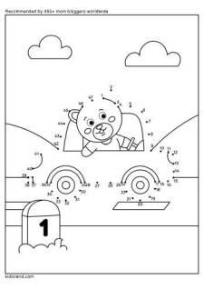 Dot To Dot Bear Driving A Car